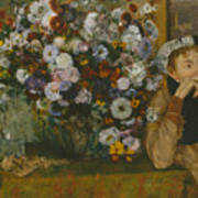 A Woman Seated Beside A Vase Of Flowers Art Print