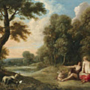A Wooded Landscape With Venus Adonis And Cupid Art Print