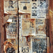A Wooden Frame Full Of Wanted Posters Art Print