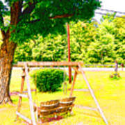 A Wooden Swing Under The Tree Art Print