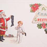 A Xmas Greetings With Santa And Child Vintage Card Art Print