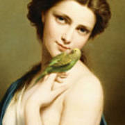 A Young Beauty With A Parakeet Art Print
