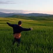 A Young Boy Runs Through A Field Art Print