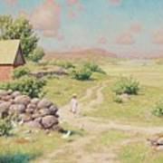 A Young Girl In Summer Landscape Art Print