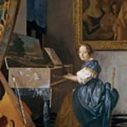 A Young Lady Seated At A Virginal Art Print