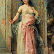A Young Oriental Girl With A Perfume Burner Art Print