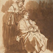 A Young Woman Having Her Hair Braided Art Print