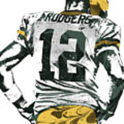Aaron Rodgers Green Bay Packers Pixel Art 6 Art Print