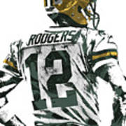 Aaron Rodgers Green Bay Packers Pixel Art 5 Art Print