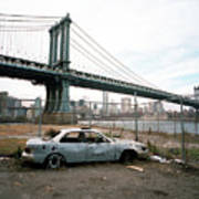 Abandoned Car And Manhattan Bridege Art Print