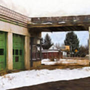 Abandoned Service Station Painterly Impressions Art Print