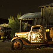 Abandoned Truck And School Bus In Ghost Town Art Print