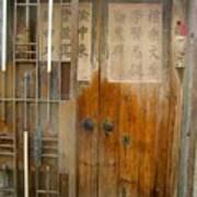 Abandoned Wooden Door With Gate Art Print