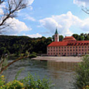 Abbey Weltenburg And Danube River Art Print