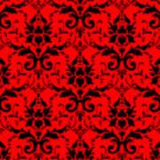 Abby Damask In Black Pattern 02-p0113 Art Print