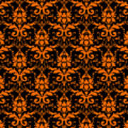 Abby Damask With A Black Background 03-p0113 Art Print