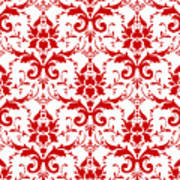 Abby Damask With A White Background 02-p0113 Art Print