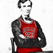 Abe Lincoln In A Michael Jordan Chicago Bulls Jersey Art Print