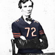 Abe Lincoln In A William Perry Chicago Bears Jersey Art Print