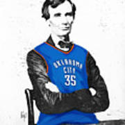 Abe Lincoln In An Kevin Durant Okc Thunder Jersey Art Print