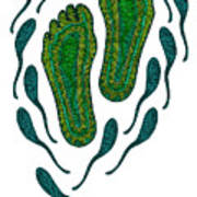 Aboriginal Footprints Green Transparent Background Art Print