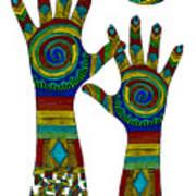 Aboriginal Hands Gold Transparent Background Art Print