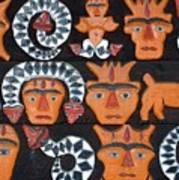 Aboriginal Painted Wood Carvings Art Print