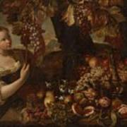 Abraham Brueghel After, Girl With Grapes And Still Life With Fruit. Art Print