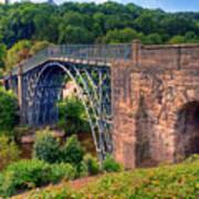 Abraham Derbys Iron Bridge Rural Landscape Art Print