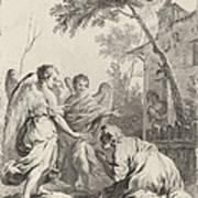 Abraham Kneeling Before The Three Angels Art Print