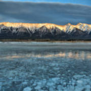 Abraham Lake Ice Bubble Sunset Art Print