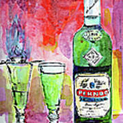 Absinthe Bottle And Glasses Watercolor By Ginette Art Print