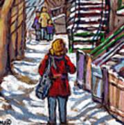 En Route Vers L'ecole Escaliers De Montreal Scenes De Ville Peintures A Vendre Art Print