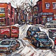 Ville Emard En Peinture Scenes De Ville De Montreal En Hiver Petit Format A Vendre Art Print