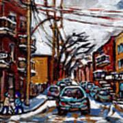 Plateau Mont Royal Scenes De Rue De Montreal En Hiver Rue Napoleon Petit Format A Vendre Art Print