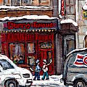 Dunn's Famous Deli Downtown Montreal Scenes De Rue Montreal Centre Ville En Hiver Joueur De Hockey Art Print