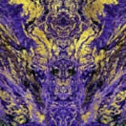 Abstract Amethyst  With Gold Marbled Texture Art Print