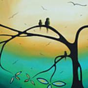 Abstract Art Landscape Bird Painting Family Perch By Madart Art Print