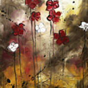 Abstract Art Original Flower Painting Floral Arrangement By Madart Art Print
