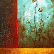 Abstract Art Original Poppy Flower Painting Subtle Changes By Madart Art Print