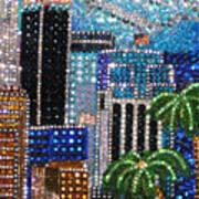 Los Angeles. Rhinestone Mosaic With Beadwork Art Print
