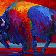 Abstract Bison Art Print by Marion Rose