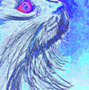 Abstract Blue Cat Art Print