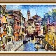 Abstract Canal Scene In Venice L A S With Decorative Ornate Printed Frame. Art Print