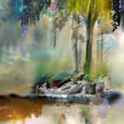 Abstract Contemporary Art Titled Humanity And Natures Gift By Todd Krasovetz  Art Print