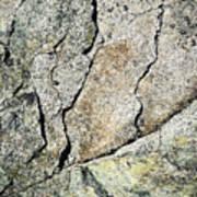 Abstract Cracks On A Granite Block Of Stone Art Print