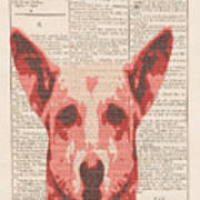 Abstract Dog On Dictionary Art Print