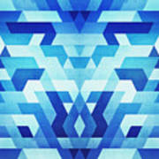 Abstract Geometric Triangle Pattern Futuristic Future Symmetry In Ice Blue Art Print