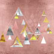 Abstract Geometric Triangles, Gold, Silver Rose Gold Art Print