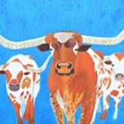 Abstract Mehndi Texas Longhorns Art Print
